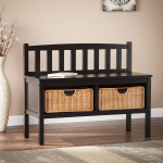 Storage Bench with Rattan Baskets, Black Finish $113.64 (REG $259.99)
