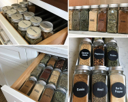 Talented Kitchen 14 Glass Spice Jars w/2 Types of Preprinted Spice Labels $16.99 (REG $34.99)