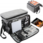 grilljoy BBQ Grill Tools Set with Grey Insulated Cooler Bag – All-in-one$25.99 (REG $39.99)