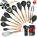 LIMITED TIME DEAL!!! Silicone Cooking Utensils Kitchen Utensil Set with Natural Wooden Handles $20.29 (REG $41.99)
