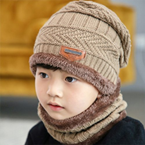 Warm Snow Knit Beanie Slouchy Skull Cap and Circle Scarf Fordicher 2 PCS Kids Boys Girls Winter Hat and Scarf Set