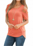 LIGHTNING DEAL!!! Adreamly Womens Loose Strappy Cold Shoulder Tops Basic T Shirts$8.49 (REG $36.00)