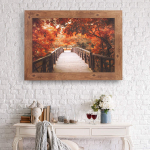 Patton Wall Decor Fall Footbridge Photography Framed Canvas Art, Red $39.32 (REG $129.99)