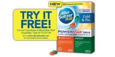 FREE Alka Seltzer Power Max Gels Pack!