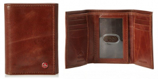 Alpine Swiss Men's Brown Leather Trifold Wallet Just $10.99!