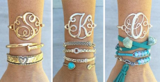 Monogram Initial Bangles Silver & Gold Only $7.99! Normally $19.99!