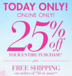 Bath & Body Works: 25% off Entire Purchase (Includes Sale Items)- Today Only!