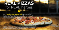 FREE Pizza for Military at California Pizza Kitchen