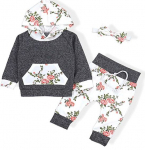 Baby Girls Long Sleeve Flowers Hoodie Tops and Pants Outfit with Pocket Headband $16.99 (REG $33.99)