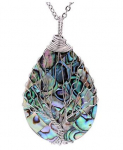 sedmart Tear Drop Abalone Shell Pendent Necklace Wire Wrap Abalone Shell $15.99 (REG $40.00)