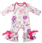 Slowera Baby Girls Cotton Long Sleeve Floral Ruffles Romper $7.39 (REG $17.99)