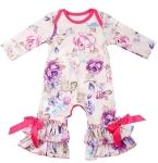 Slowera Baby Girls Cotton Long Sleeve Floral Ruffles Romper $7.39 (REG $17.99)