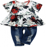 Toddler Girl Outfit Floral Short Sleeve Pant Set (50% Off)