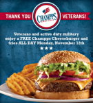 FREE Cheeseburger and Fries at Champps for Vets and Active Military on 11/12