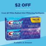 Value 2-Pack of Crest 3D White Radiant Mint Whitening Toothpaste!