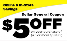 Dollar General: $5 Off a $25 Purchase Coupon – TODAY ONLY!
