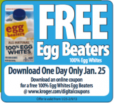 Kroger: FREE Egg Beaters w/ Digital Coupon on 1/25 ONLY!