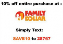 Family Dollar: 10% off Entire Purchase Coupon