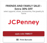 JCPenney Friends & Family Sale 30% Off Most the Store
