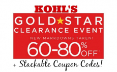 Kohl's Gold Star Clearance up to 60% to 80% Off + Stackable Coupon Codes!