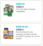 Libby's and Dole Vegetable & Fruit Coupons
