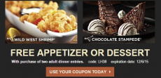 Longhorn Steakhouse Coupons! Free Appetizer Or Dessert!