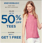 Old Navy: Tees & Tanks 50% Off Online + BOGO FREE In-Store! Prices Start At $5.00!