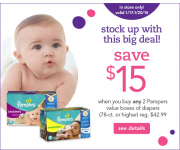 Babies R Us: $15 off Pampers Diapers + 15% and 20% off Coupons!!!