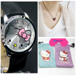Hello Kitty Large Face Quartz Watch + Pouch, Necklace, and Extra Battery Only $3.33 Shipped!