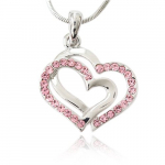 Pink Crystal Double Heart Charm Pendant Necklace Just $15.99 (reg. $29.99)