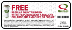 Quiznos Coupon: Free Fountain Drink with Sandwich & Chips or Cookie Purchase