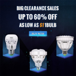 Big Clearance Sale – Up to 60% off Light Bulbs as low as $1.00/Each!