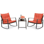 3-Piece Wicker Bistro Furniture Set w/ 2 Rocking Chairs $159.99(49% Off)
