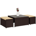 3-Piece Outdoor Wicker Coffee Table Conversation Set w/ Ottoman Benches -$199.99(45% Off)