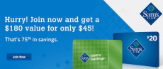 New Sam's Club Members! Get 1-Year Membership Plus $20 Gift Card And More Only $45.00! A $180 Total Value!