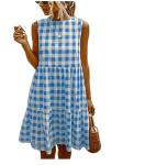 Women's Casual Plaid Sleeveless Ruffle Sundress (50% Off)