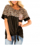 csoft Women's Casual Short Sleeve Leopard Print Color Block T Shirt (40% Off)