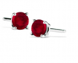 1/2 Carat TW Natural 4MM Ruby Stud Earrings in .925 Sterling Silver (89% Off)