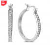 1/4 Carat TW Diamond Hoop Earring in .925 Sterling Silver (84% Off)