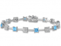 3.20 Carat Princess Shape Blue Topaz and Diamond Bracelet in Rhodium Plated Brass -$29.99(85% Off)