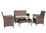 Walnew 4 PCS Outdoor Patio Furniture Rattan Wicker Table and Chairs Set $169