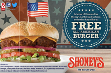 Free All American Burger for Military and Veterans at Shoney's