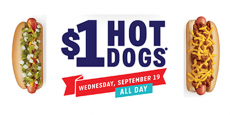 Look who is not making dinner tonight – $1.00 Sonic Hot Dogs Today!