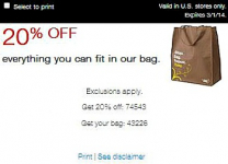 Staples Coupon: 20% off Everything You Fit into a Bag!