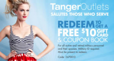 FREE $10 Gift Card + Coupon Books for Military Members at Tanger Outlet Store