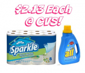 HOT! Sparkle Paper Towels and All Detergent Only $2.13 Each at CVS!