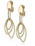 Women's Gold Diamond Textured Linear Clip Earrings $15.60 (REG $26)