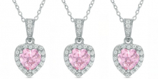 Heart-Shaped Pink & White Sapphire Pendant ONLY $19.99! (Reg $100)