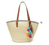 Handwoven Shoulder Bags Purse With Pom Poms$25.99 (REG $129.99)