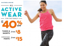 Old Navy: 40% Off Active Wear + 20% Off Any Purchase!